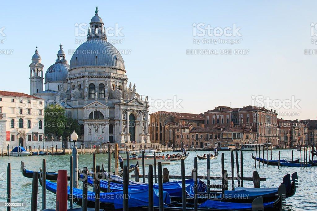 Gondolas on Canal Grande and Basilica di Santa Maria- Venice stock photo