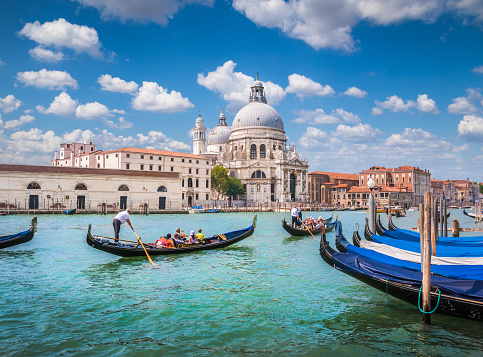 Gondolas on Canal Grande with Basilica di Santa Maria della Salute, Venice, Italy