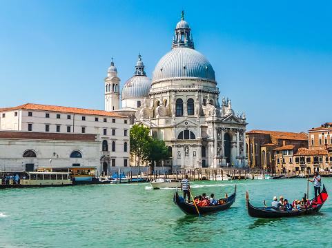 Gondolas on Canal Grande with Basilica di Santa Maria, Venice