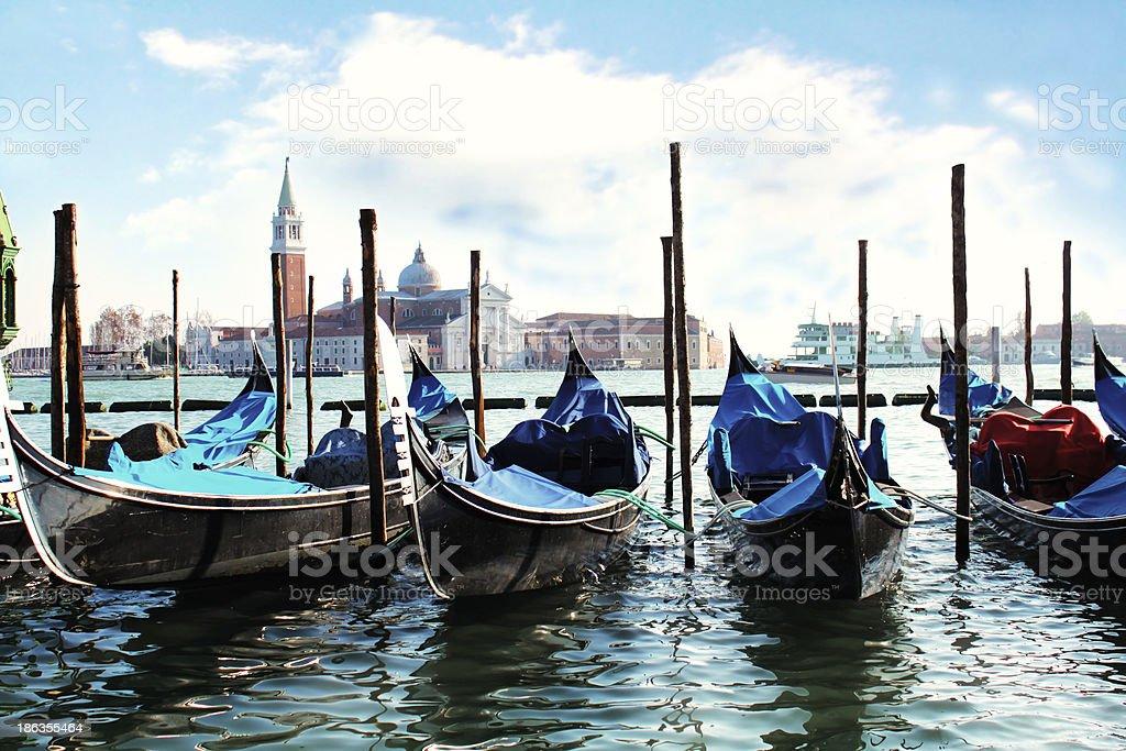 Gondolas on Grand Canal royalty-free stock photo