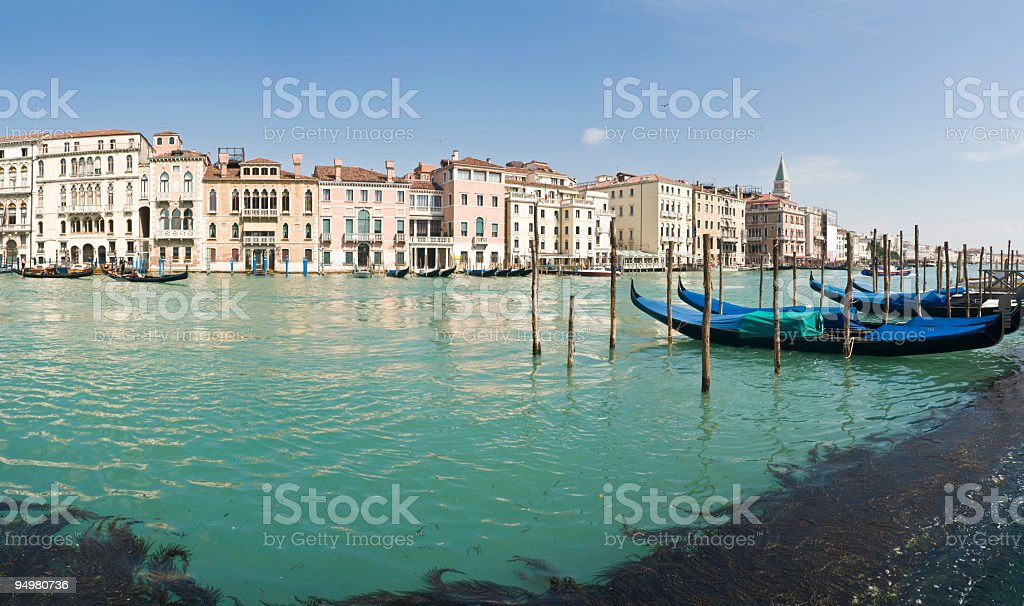 Gondolas on Grand Canal Venice royalty-free stock photo