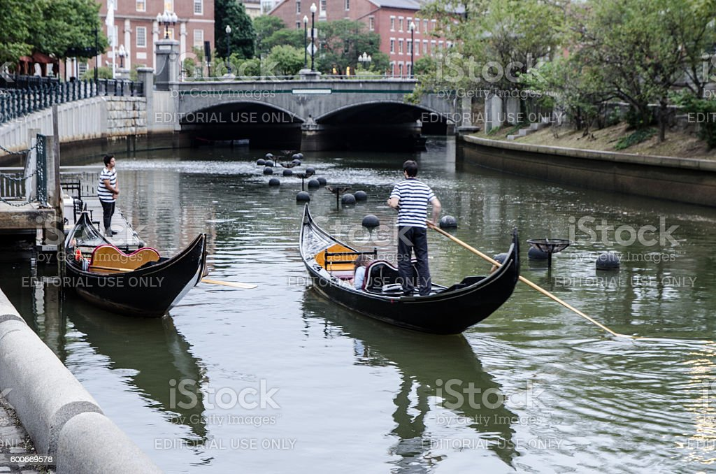 Gondolas on Providence River in Rhode Island stock photo