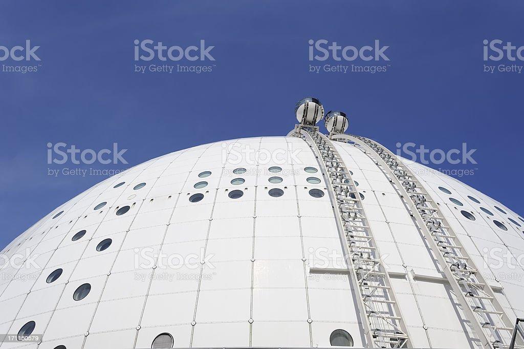 Gondolas on the Stockholm Globe arena royalty-free stock photo
