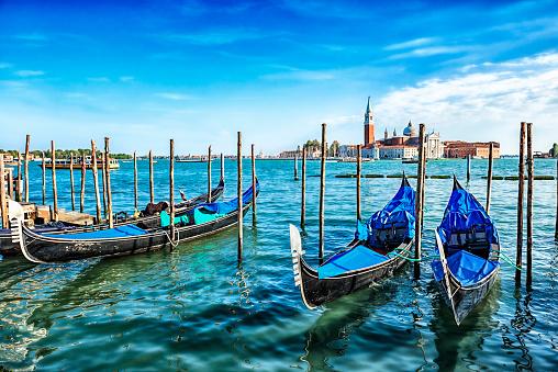 Gondolas on the Venetian Lagoon, Italy