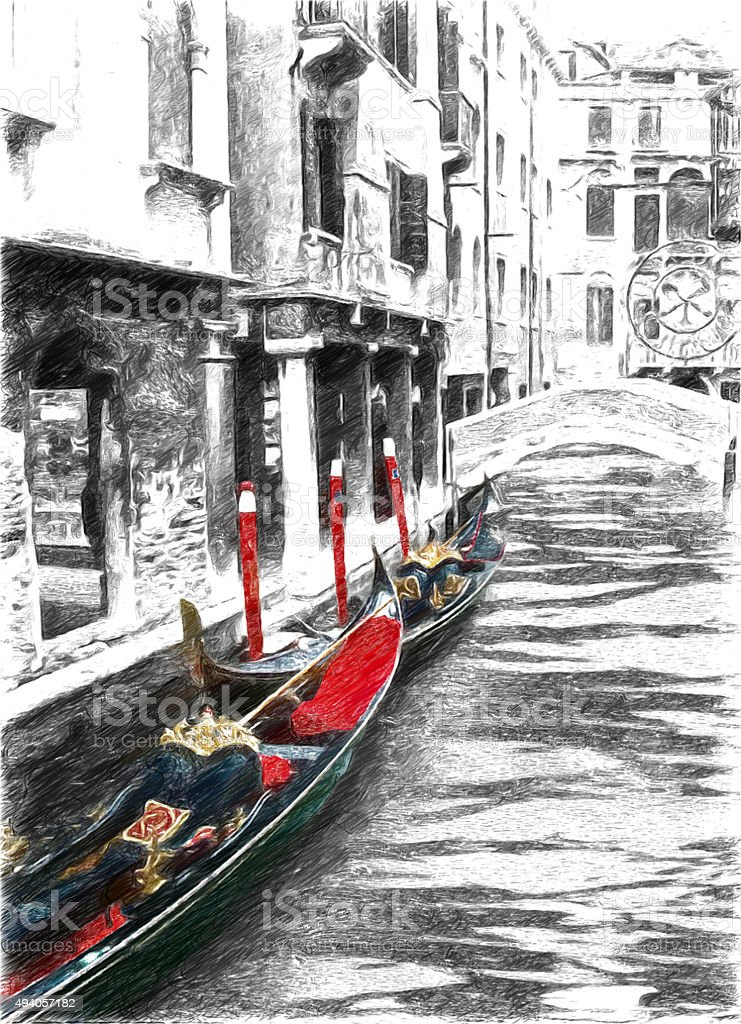 Gondolas on venice black and white pictures with red elements royalty free stock photo