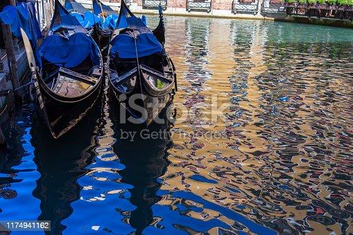 Venice gondolas with reflections