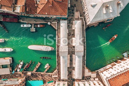 Aerial view of the gondolas sailing along the narrow canals of Venice, Italy.