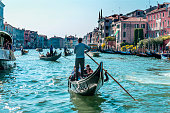 Gondolas Tourists Colorful Grand Canal Buildings Boats Reflections Venice Italy