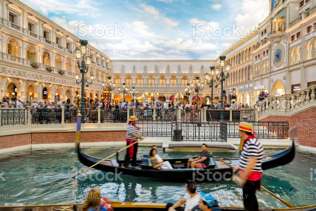 Gondolier and tourists on the Grand Canal in the Venetian Las Vegas Hotel, Las Vegas, Nevada stock photo