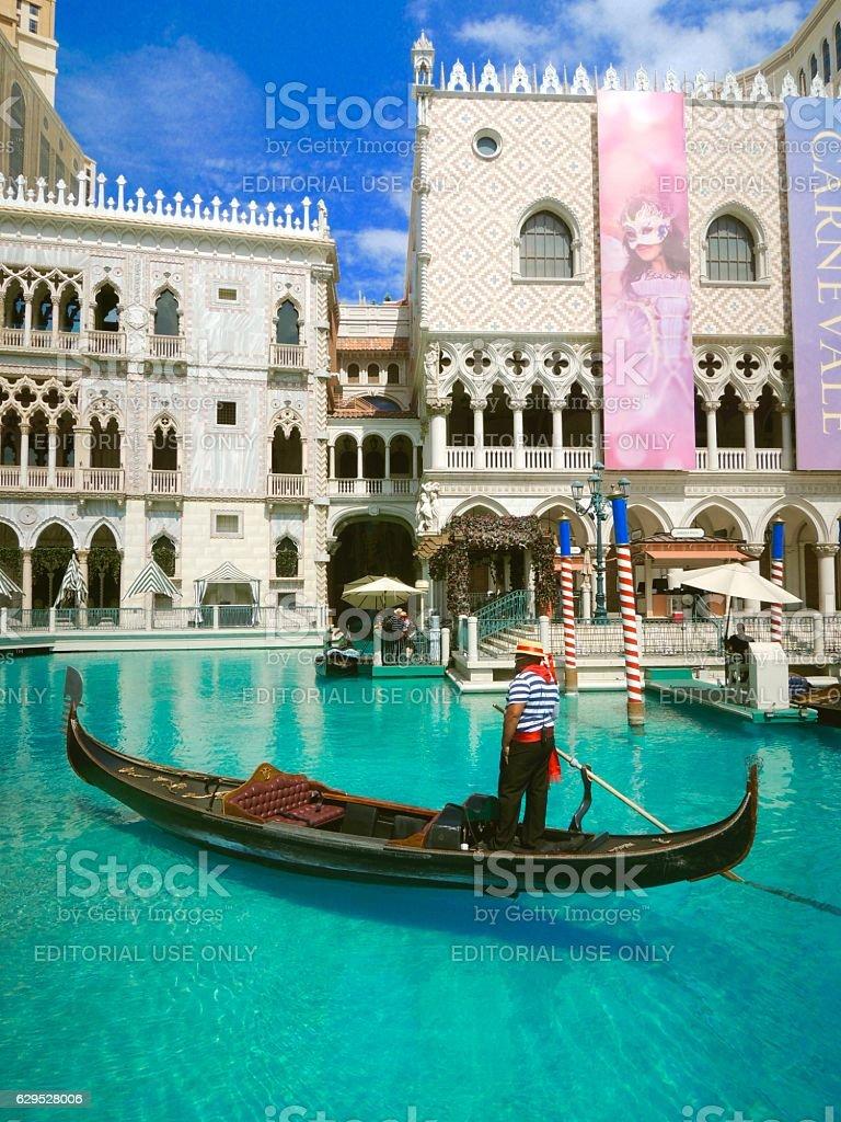 Gondolier at The Venetian Resort Hotel & Casino stock photo