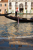 Venice, Italy-june 02, 2009:  gondoliers rowing along Gran Canal in the evening light in Venice