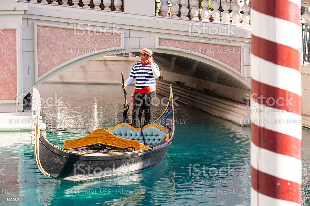 Gondolieres at The Venetian Resort Hotel & Casino stock photo