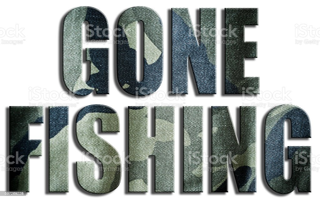 Gone fishing. Camo textured text. royalty-free stock photo