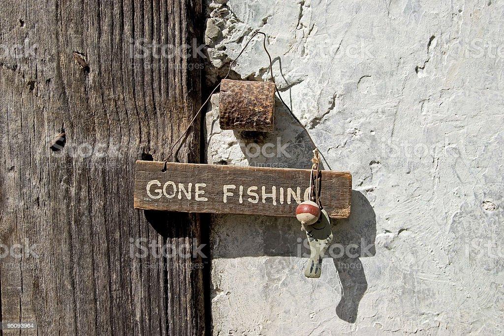 Gone fishing sign royalty-free stock photo