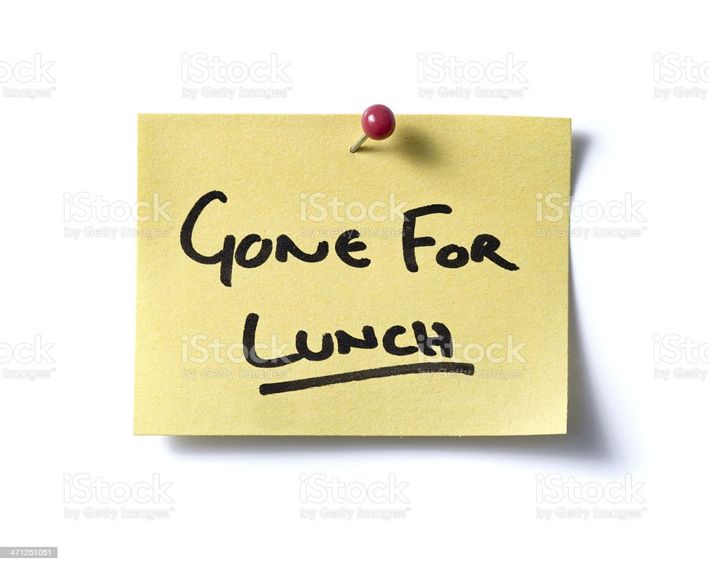 Gone For Lunch!! post-it. royalty-free stock photo
