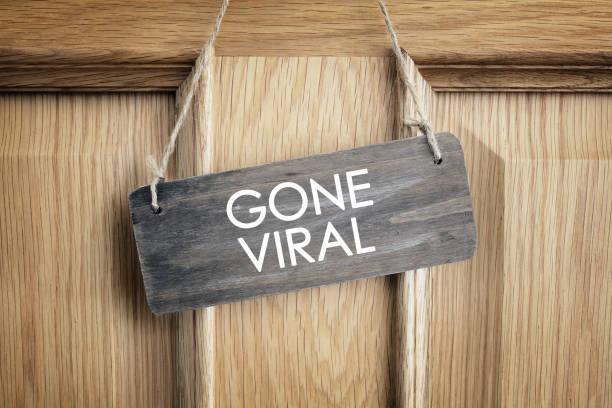 Verschwunden virale Schild an der Tür Bürokonzept für Internet-marketing und social media – Foto
