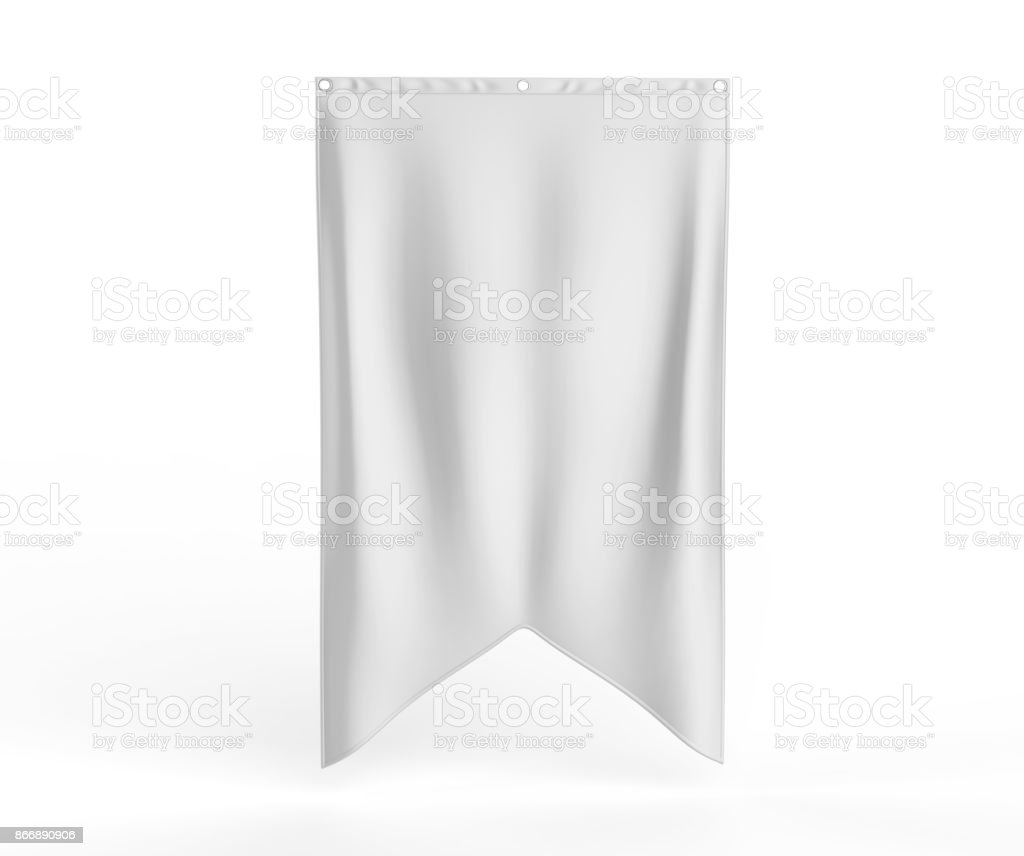 Gonfalon fishtail bottom flag banner for your logo design. Blank white 3d render illustration - fotografia de stock