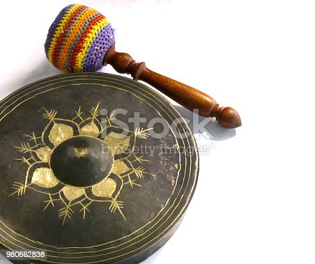 Gong and bat isolated on white background.