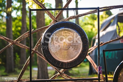 Gong for a sound therapy in the nature