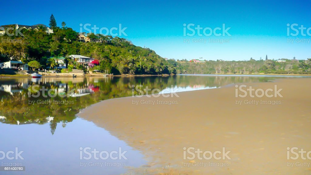 Gonubie river reflections on bright sunny day stock photo