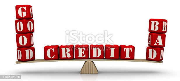 istock Good and bad credit. Comparison on the scales 1132972797