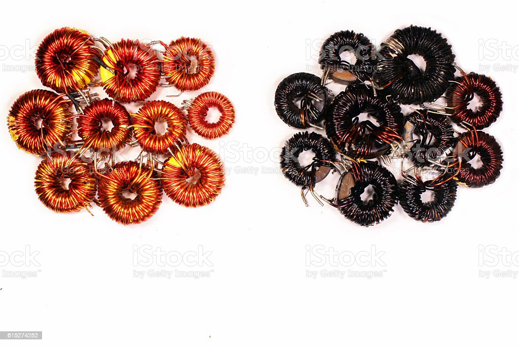 Good and bad magnetic coils stock photo