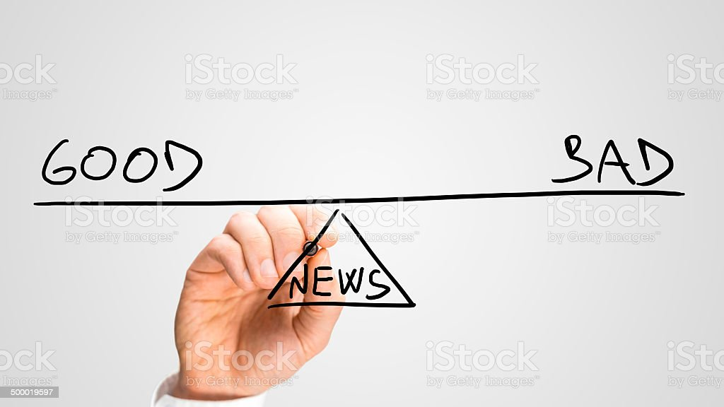 Good and bad news stock photo