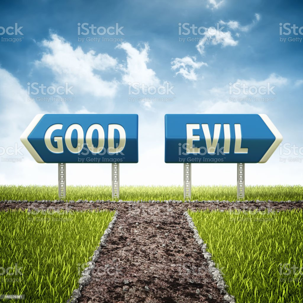 good and evil crossroad stock photo