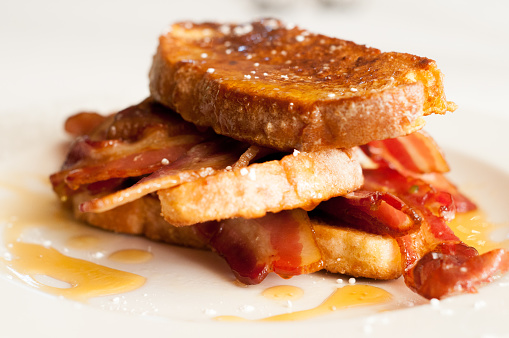 An overhead close up shot of a hearty breakfast