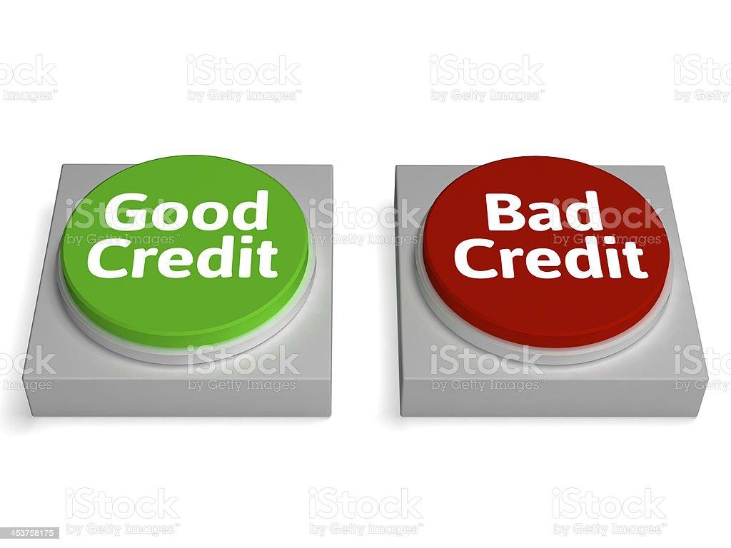 Good Bad Credit Shows Financial Record stock photo