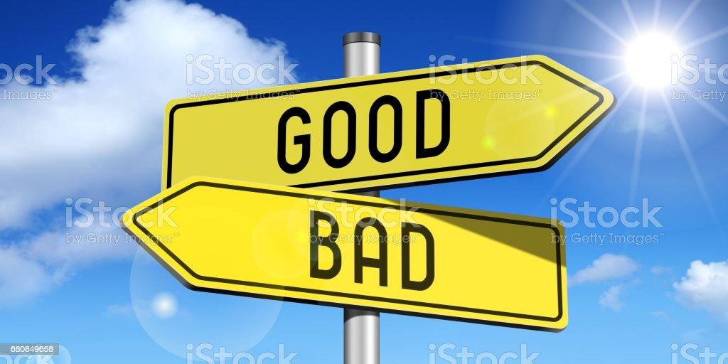 Good, bad - yellow road-sign royalty-free stock photo
