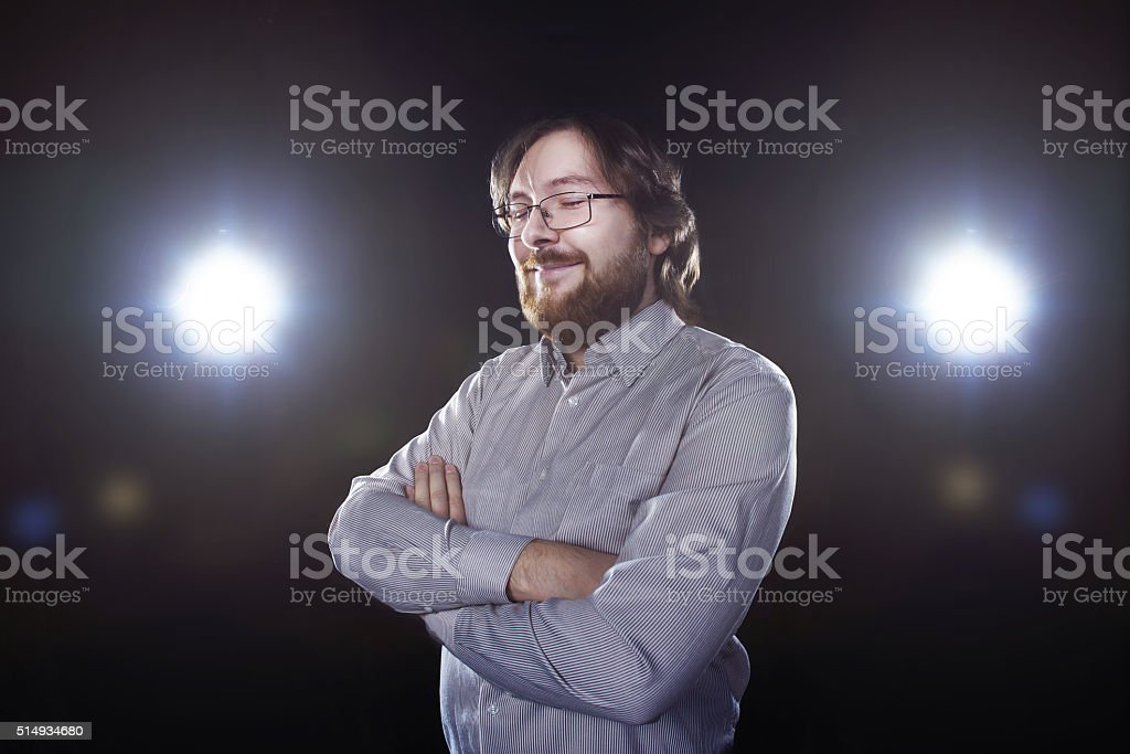 good bearded young man with surprised expression stock photo