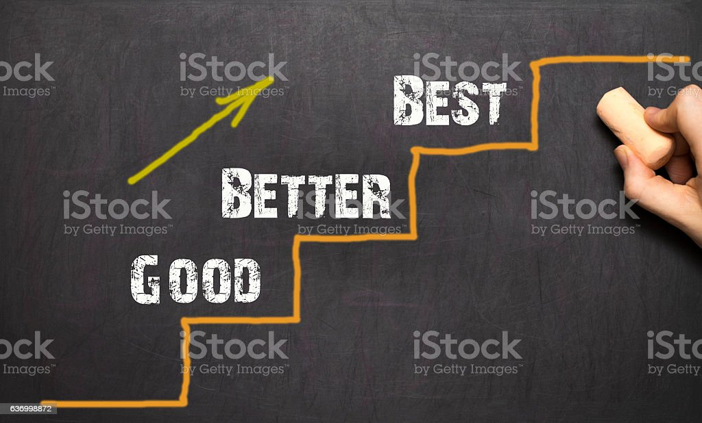 Good - Better - Best. Black bacground stock photo