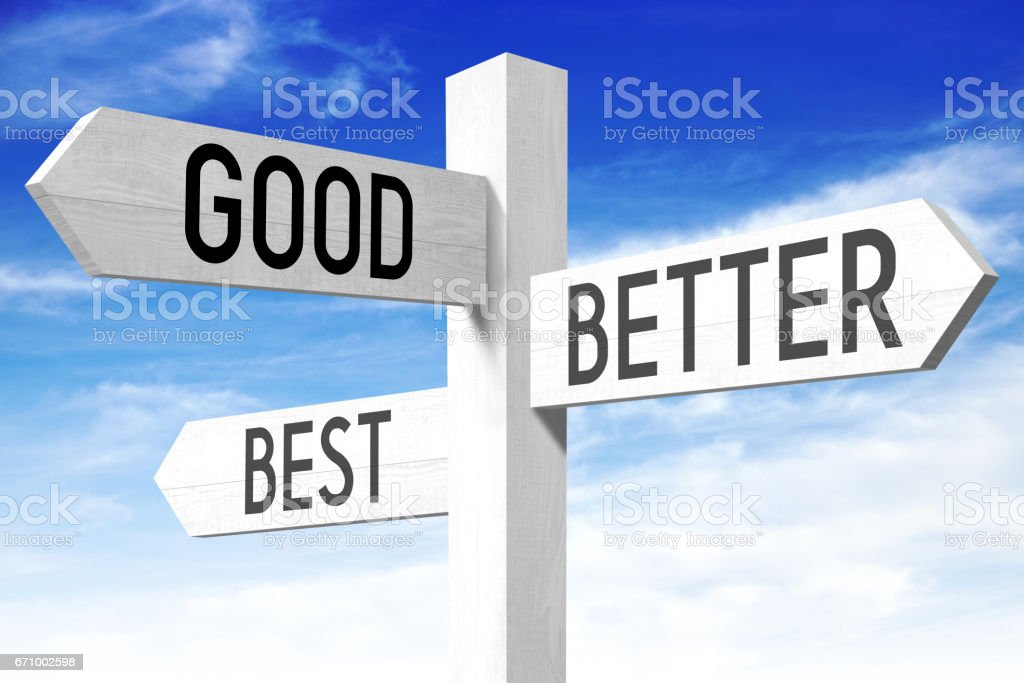 Good, better, best - wooden signpost stock photo