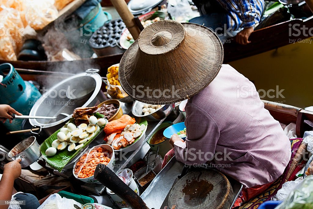 Good boat in the Floating Market in Bangkok, Thailand stock photo