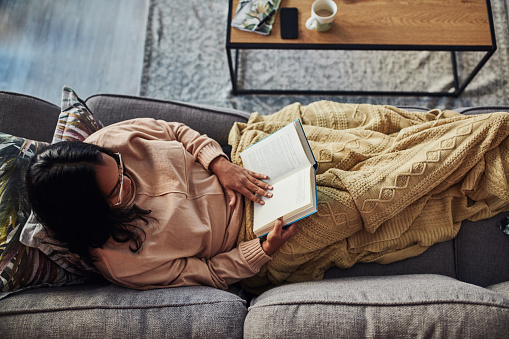 High angle shot of a young woman reading a book on the sofa at home