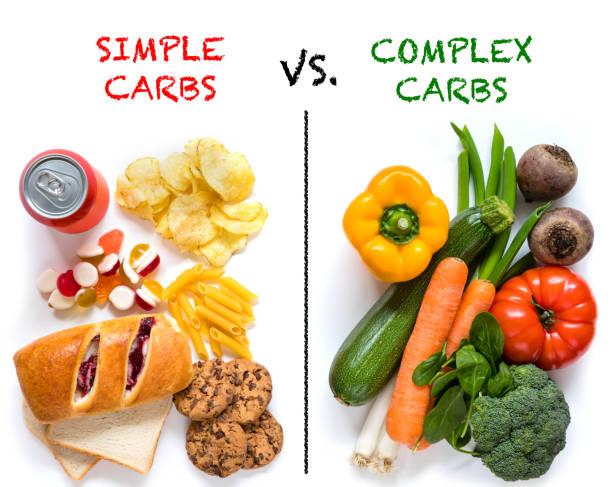 Carbohidratos buenos Versus carbohidratos malos - foto de stock