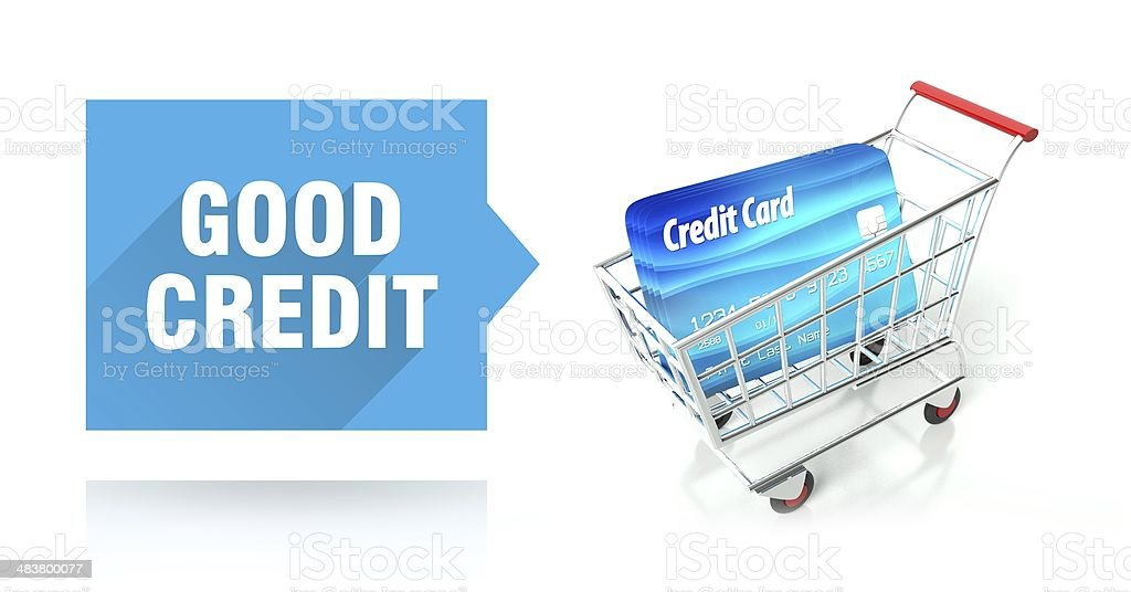 Good credit score with shopping cart stock photo
