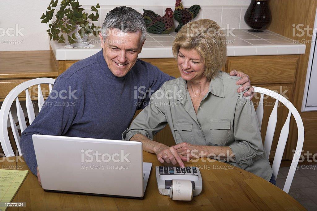 Good Data Computing Bills Paying Internet Laptop Couple royalty-free stock photo