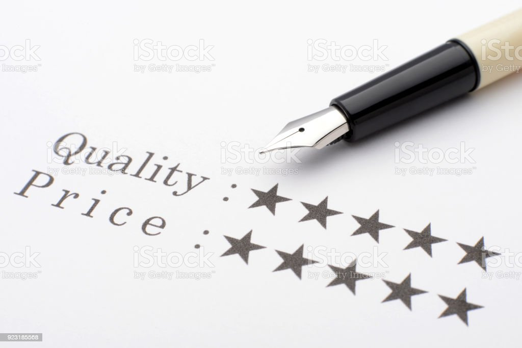 Good evaluation for quality and price stock photo