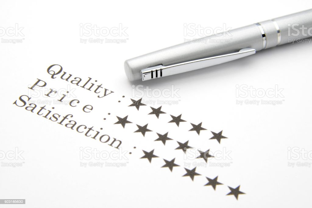 Good evaluation for quality, price and satisfaction stock photo