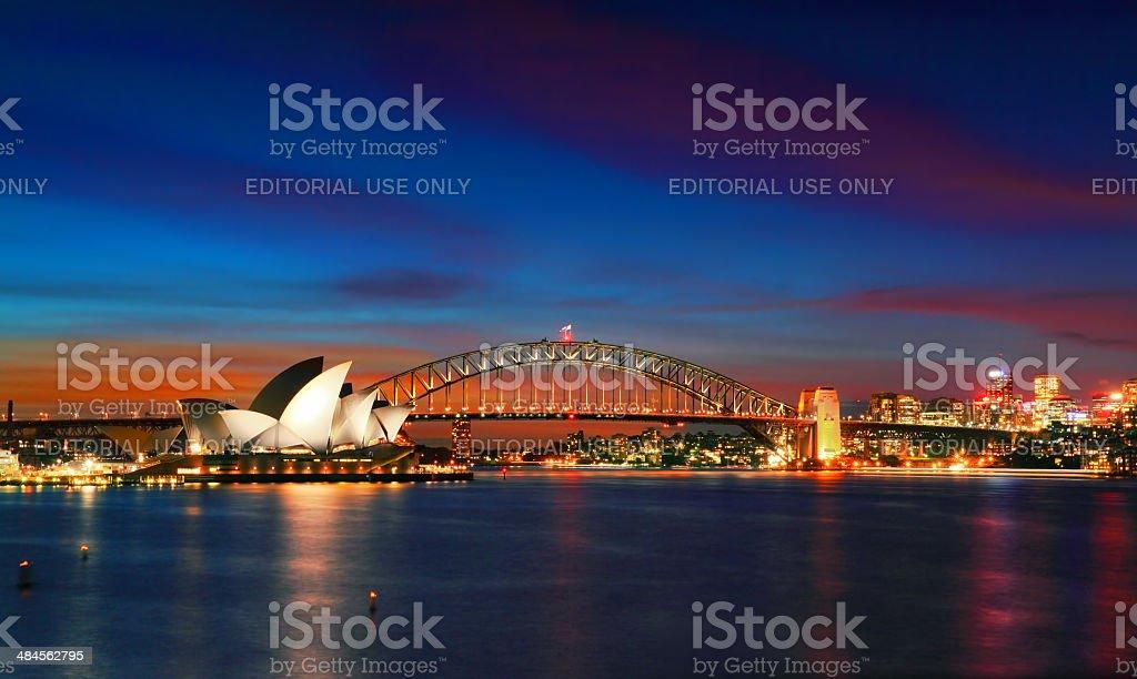 Good Evening Sydney Opera House and Harbour Bridge at dusk stock photo
