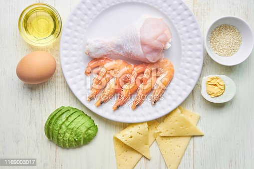 1129572695 istock photo good fat sources on a plate - chicken, seafood, egg, avocado, sesame. healthy eating and Ketogenic diet concept 1169003017
