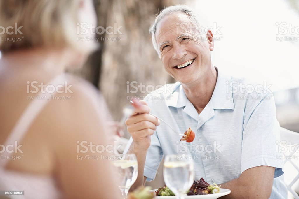 Good food and even better company stock photo