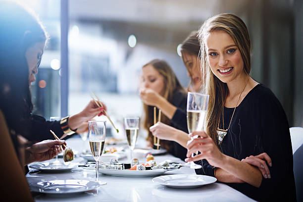 Good food and great friends - what more do you need stock photo