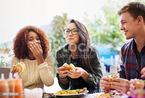 Cropped shot of three friends eating burgers outdoorshttp://195.154.178.81/DATA/i_collage/pi/shoots/784741.jpg