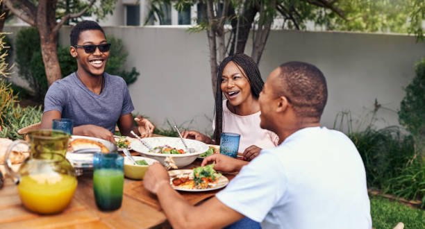 Good food, good people, good times stock photo