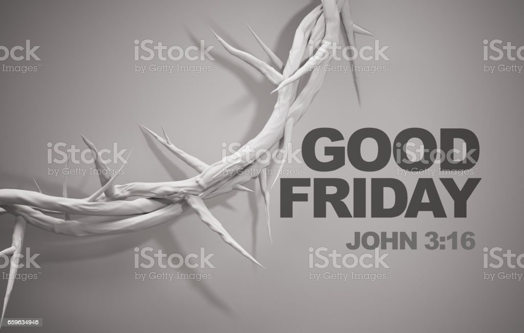 Good Friday John 3:16 Crown of Thorns 3D Rendering stock photo