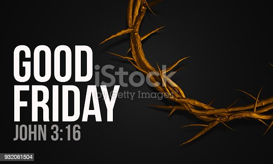istock Good Friday John 3:16 Gold Crown of Thorns 3D Rendering 932061504