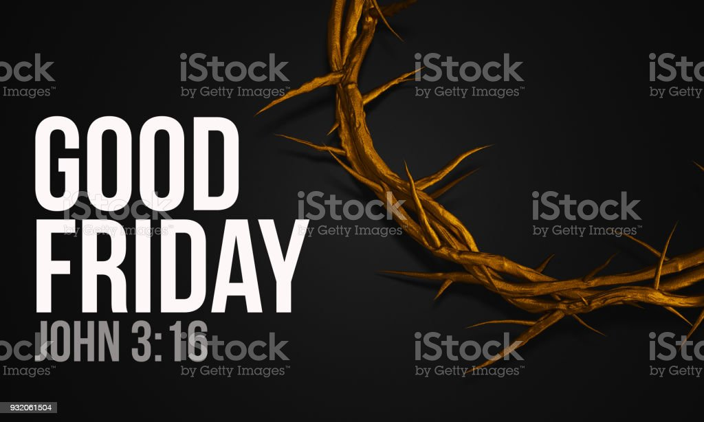 Good Friday John 3:16 Gold Crown of Thorns 3D Rendering stock photo